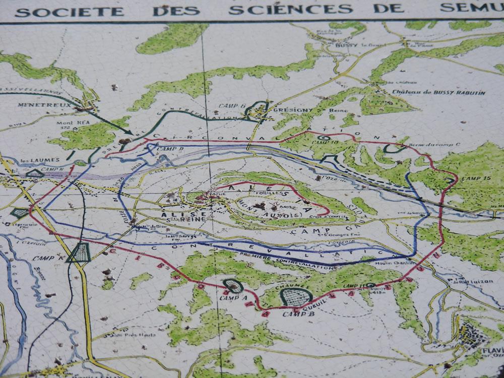 Lageplan der Belagerung und Schlacht von Alesia im Brugund