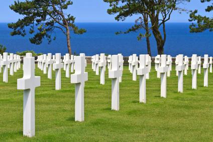 Ein Amerikanischer Soldatenfriedhof vom 2. Weltkrieg in der Nähe von Omaha Beach / Normandie, Frankreich.