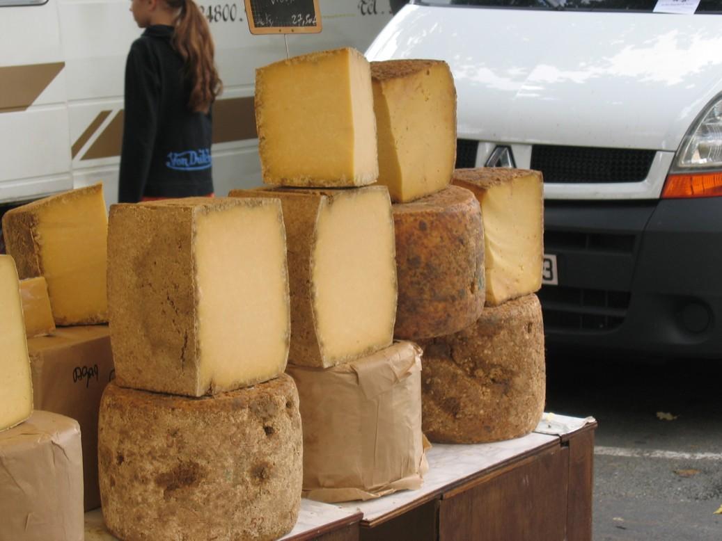 Auf dem Markt in Thiviers, Hauptstadt des grünen Perigord. Leckerer würziger Käse.