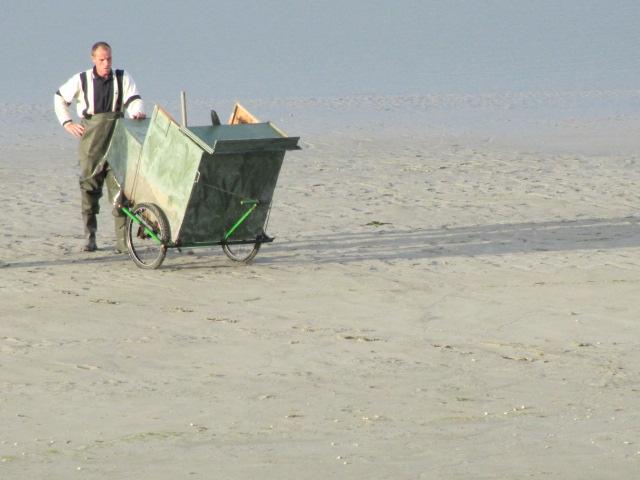 Flachwasser und Dünen in der Somme-Bucht. Die Somme Bucht erstreckt sich etwa auf zehn Kilometern Länge.