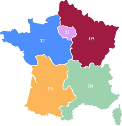 Karte Vorwahl Frankreich