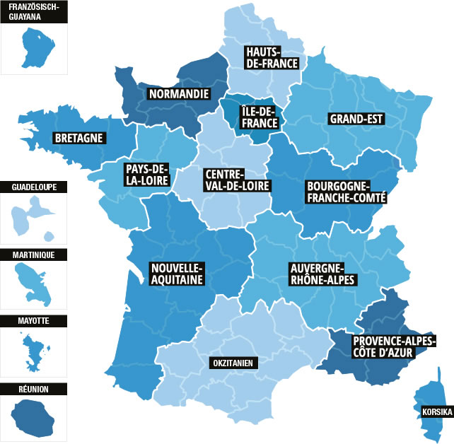 Frankreich Departements Karte.Regionen In Frankreich Frankreich Info De