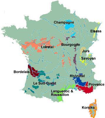 Weinregionen Karte — Frankreich-Info.de