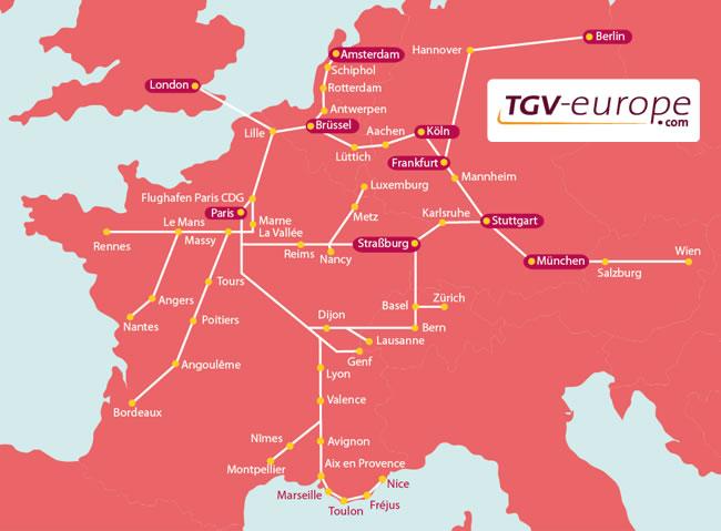 Das Französische Tgv Streckennetz Frankreich Infode